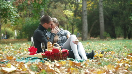 Couple spending time together on a picnic