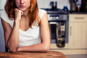 Woman is thinking in her kitchen