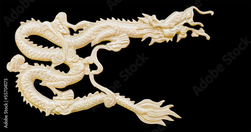 Golden Chinese Dragon carve isolate white background with clippi