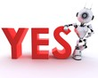 Robot with yes sign