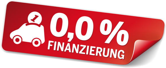 rotes Label 0 Prozent finanzierung mit Autospardose