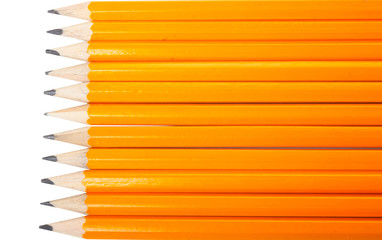 Group of eleven horizontal new yellows pencils