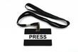 Press badge isolated on white background
