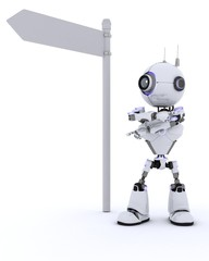 Robot with road sign