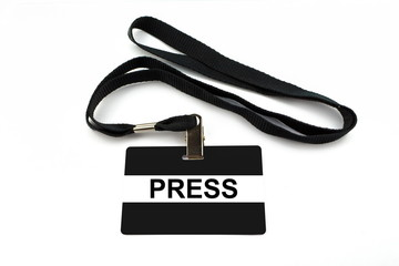 Press badge isolated on white background