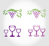 grapes and wine glasses - set
