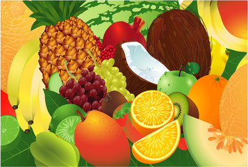 Ripe fruits. Vector background.