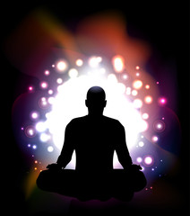 Man Silhouette Doing Yoga Meditation.Vector Illustration