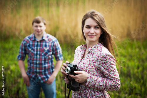 Cute photographer girl wiht boyfriend