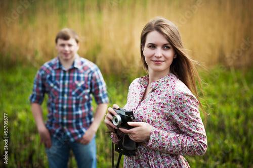 Cute photographer girl wiht boyfriend