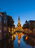 Canal in Alkmaar Netherlands at dusk