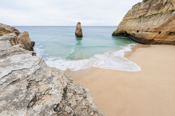 Remote beach in Algarve Portugal