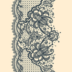 Lace Ribbon Vertical Seamless Pattern