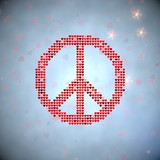 3d graphic of a harmful peace symbol of thousand hearts poster