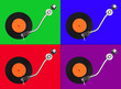 Four abstract  colorful record players