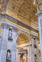 Interior of the Saint Peter Cathedral in Vatican at . Saint Pet