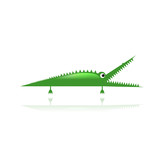 Funny green crocodile for your design