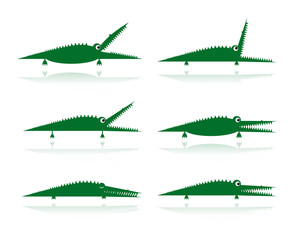 Set of funny green crocodiles for your design