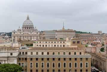 Buildings of Rome with Vatican St Peter Dome in background