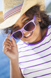 Happy Mixed Race African American Girl Child Sunglasses & Hat