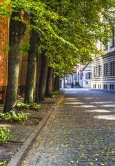 Autumnal street in old Riga, Latvia
