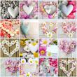 Romantische Grüße: Collage aus verschiedenen Herzen