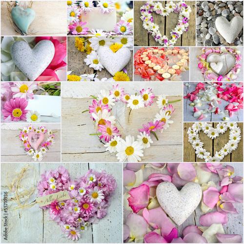 Romantik: Collage aus verschiedenen Herzen