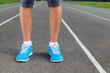 Runner Feet on Stadium Closeup.