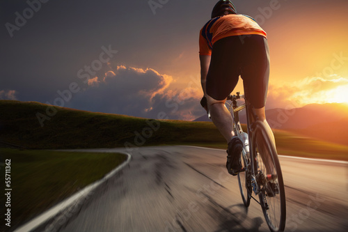 canvas print picture Sunset Biking