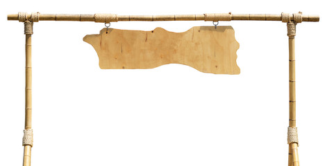 Blank wooden board hanging from bamboo frame with ropes isolated