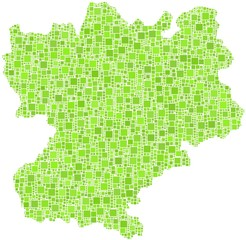 Map of Rhone-Alpes - France - in a mosaic of green squares