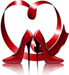 Красивые красные туфли на фоне сердца из ленты