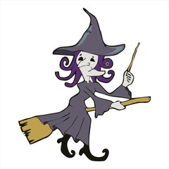 witch riding with broom cartoon vectoor