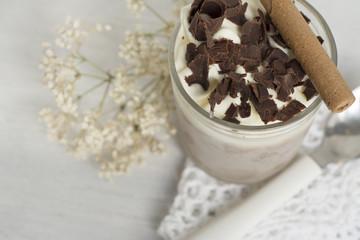 Dessert. chocolate and cream very cold