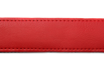 red leather belt on white background