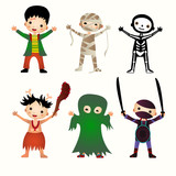 An illustration of kids in halloween costumes