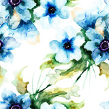 Fototapety Seamless wallpaper with Summer blue flowers