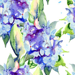 Seamless wallpaper with Beautiful blue flowers