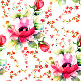 Roses flowers, seamless wallpapers