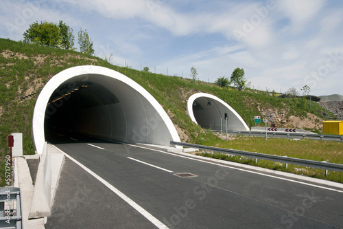 Fotobehang Tunnel Rozman Hill Tunnel on the A1 highway in Croatia