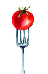 Tomato on the fork
