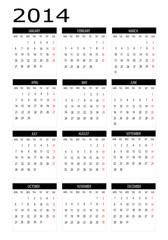Calendar 2014 in english