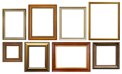 Group of Wooden Picture Frames Isolated On White