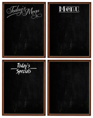 Group of Wooden Picture Frames Chalkboard Blackboard Copy Space