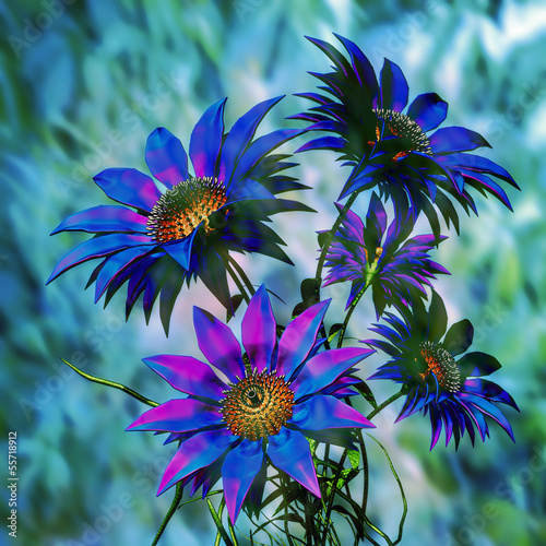 beauty blue 3d flowers