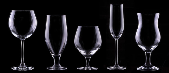 empty glass  set isolated on a black