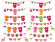 Vector Set of Baby Girl Themed Clotheslines