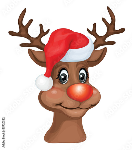Vector Rudolph with Christmas hat.
