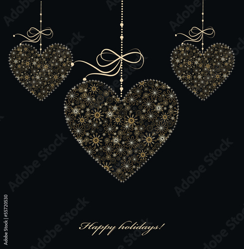 Christmas decoration with golden hearts