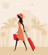 Woman with a suitcase at the resort. Vector
